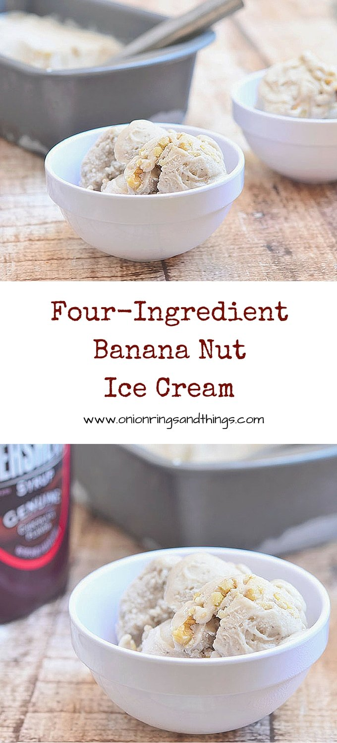 Four-Ingredient Banana Nut Ice Cream is delicious ice cream made with frozen bananas, condensed milk, cinnamon and walnuts