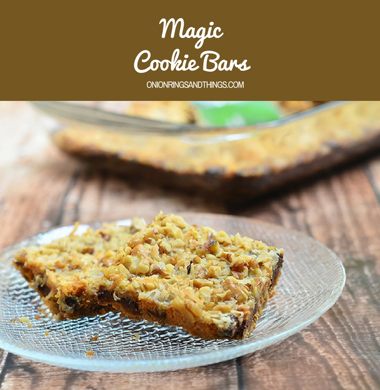Magic cookie bars are irresistible treats made with layers of graham cracker crust, condensed milk, chocolate chips, coconut and walnuts