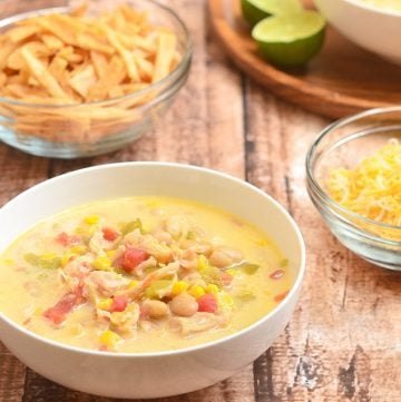 Fiesta Chicken Chili in a white bowl