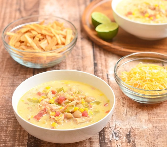 Creamy fiesta chicken chili is a perfect meal for busy weeknight dinners.