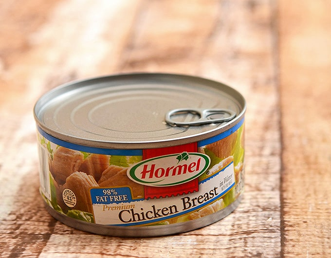 Canned Hormel chicken breast is the perfect easy base for this delicious fiesta chili.