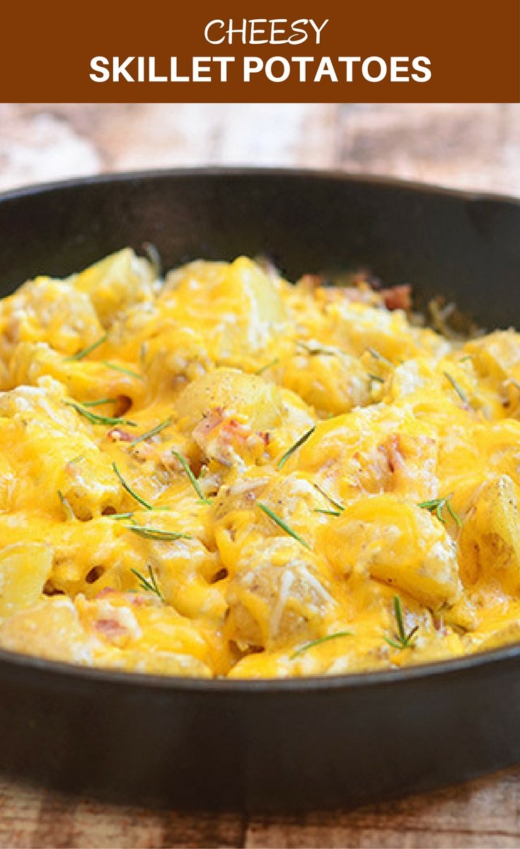 Cheesy Skillet Potatoes is the ultimate potato side dish! With fluffy Yukon gold potatoes, creamy sour cream sauce, crisp bacon, gooey cheese, and fresh rosemary, it's hearty, delicious and a guaranteed family favorite.