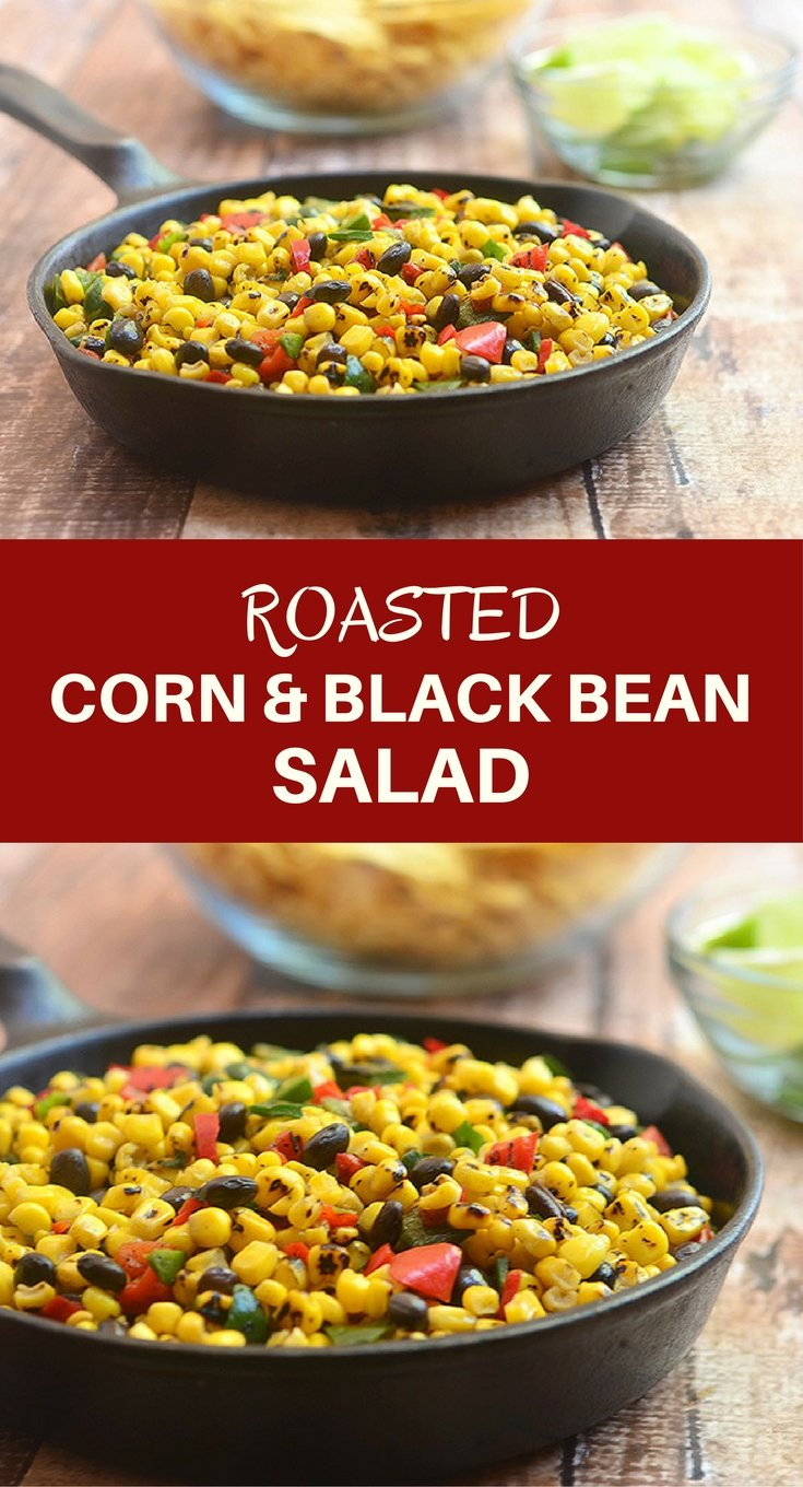 Roasted Corn and Black Bean Salad bursting with the smoky flavors of grilled corn, poblano peppers; and black beans. Delicious as a dip for tortilla chips yet just as awesome as a vegetarian filling for enchiladas or quesadillas.