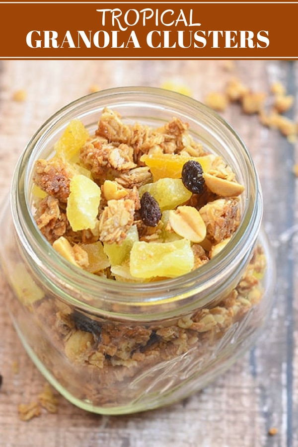 Tropical Granola Clusters in a clear mason jar