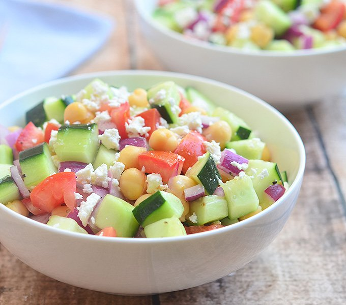 Cucumber Tomato and Feta Salad is chock-full of texture and flavor!