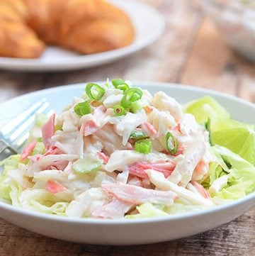 Kani Salad with imitation crab and celery in a creamy mayo dressing is a refreshing seafood salad that's sure to be family favorite. It's ready in minutes and can be enjoyed as is, tossed with salad greens or used as sandwich fillings.