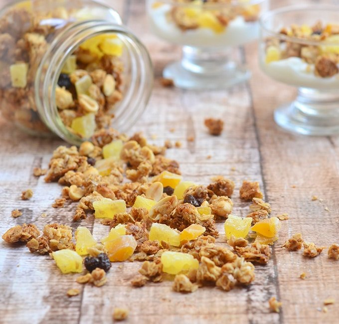 Tropical Granola Clusters with dried mango, pineapple, coconut, and crunchy oats
