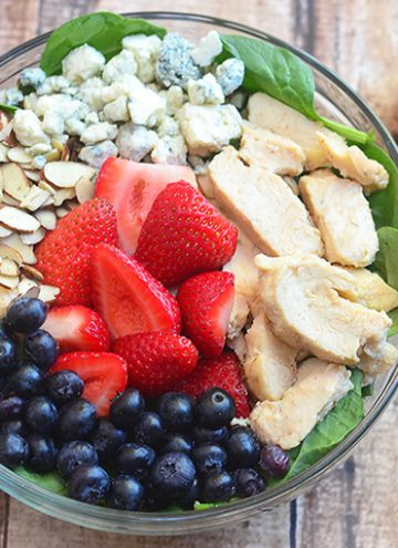 Berry Chicken and Spinach Salad with Honey Mustard Dressing