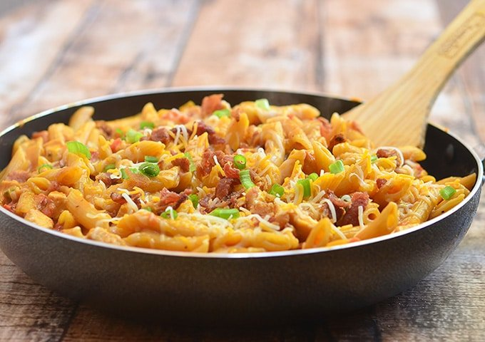 Barbecue Chicken Pasta cooked in a pan