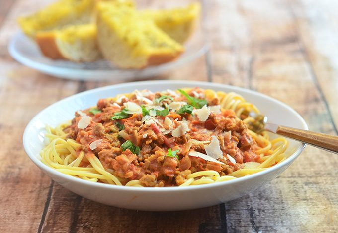 Spaghetti with Italian Sausage and Vodka Sauce is a hearty pasta dish everyone is sure to love! Pair with your favorite salad and garlic toast for a satisfying lunch or dinner!