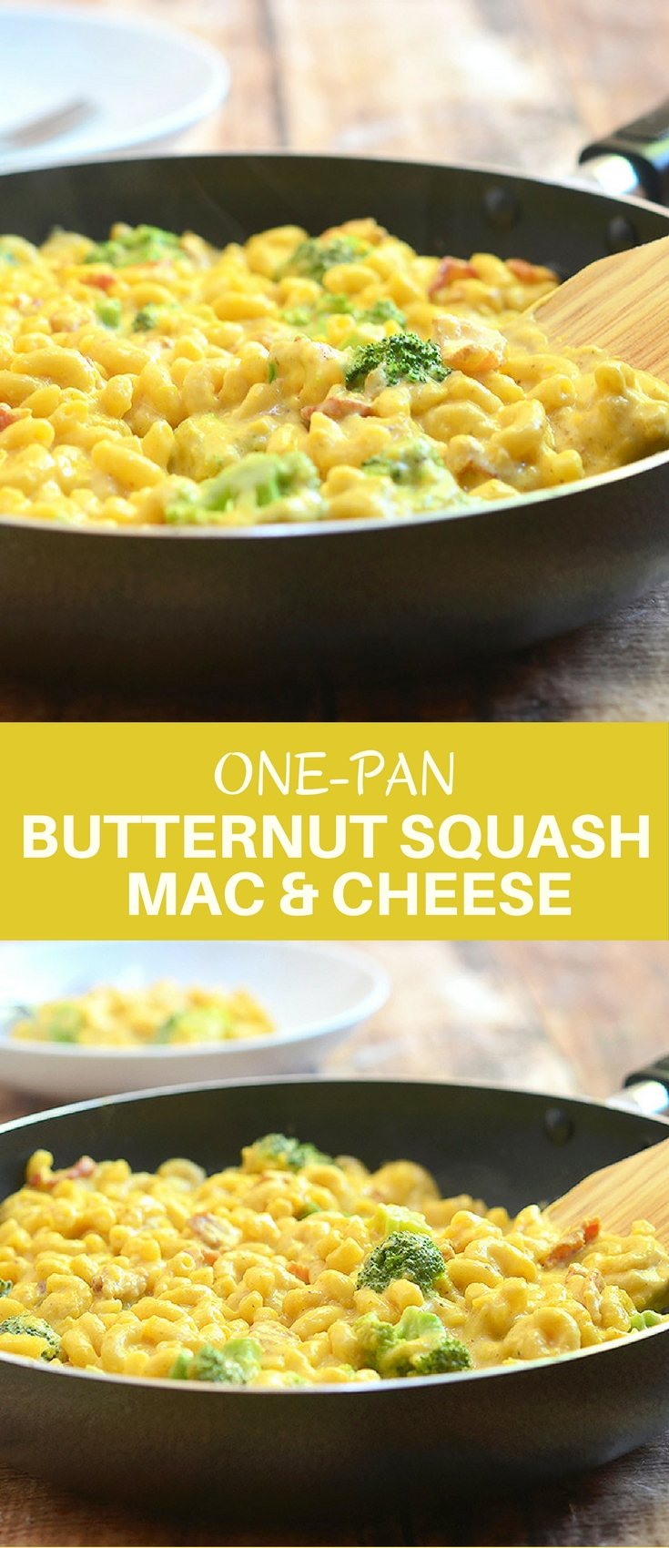 One-Pan Butternut Squash Macaroni and Cheese with bacon, broccoli, and a creamy butternut squash sauce is the ultimate Fall comfort food. And it's ready in 30 minutes and in one pan!
