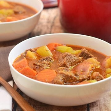 Homestyle Beef Stew is the ultimate cold weather comfort food. Chock-full of tender beef, chunky vegetables, and a flavorful broth, it's hearty and delicious!