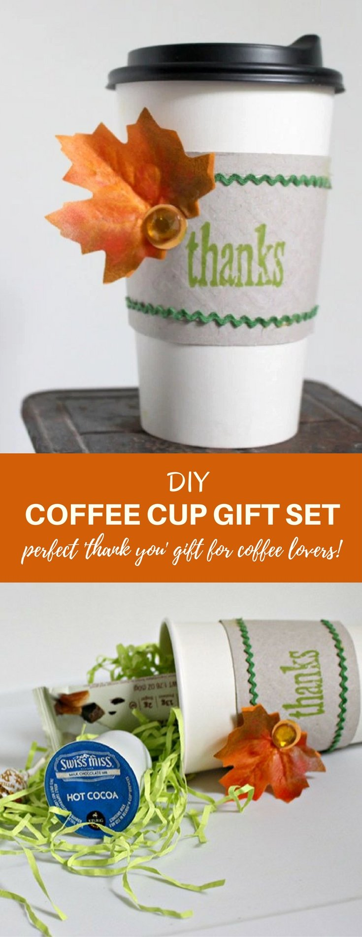 DIY coffee cup gift set is the perfect thank you all the coffee lovers on your list. Make from supplies you can find at your neighborhood Dollar Store and fill with coffee gift cards, hot cocoa packets, K-cups and sweet treats!
