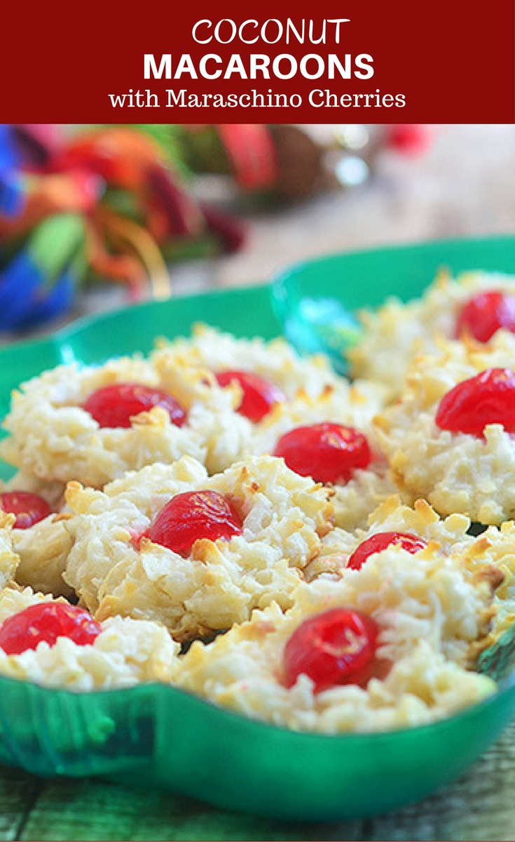 Coconut macaroons with colorful maraschino cherry centers make the perfect gift this holiday season. Soft and chewy, they're sure to be everyone's favorite treat!