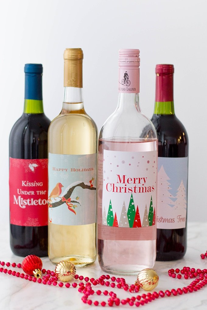 wine bottles with Christmas lables