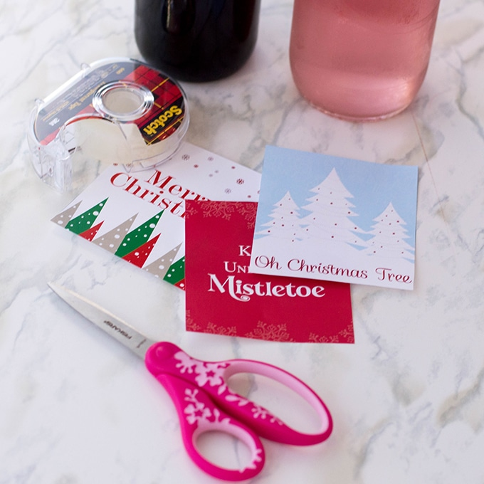 cut out Christmas wine label printables