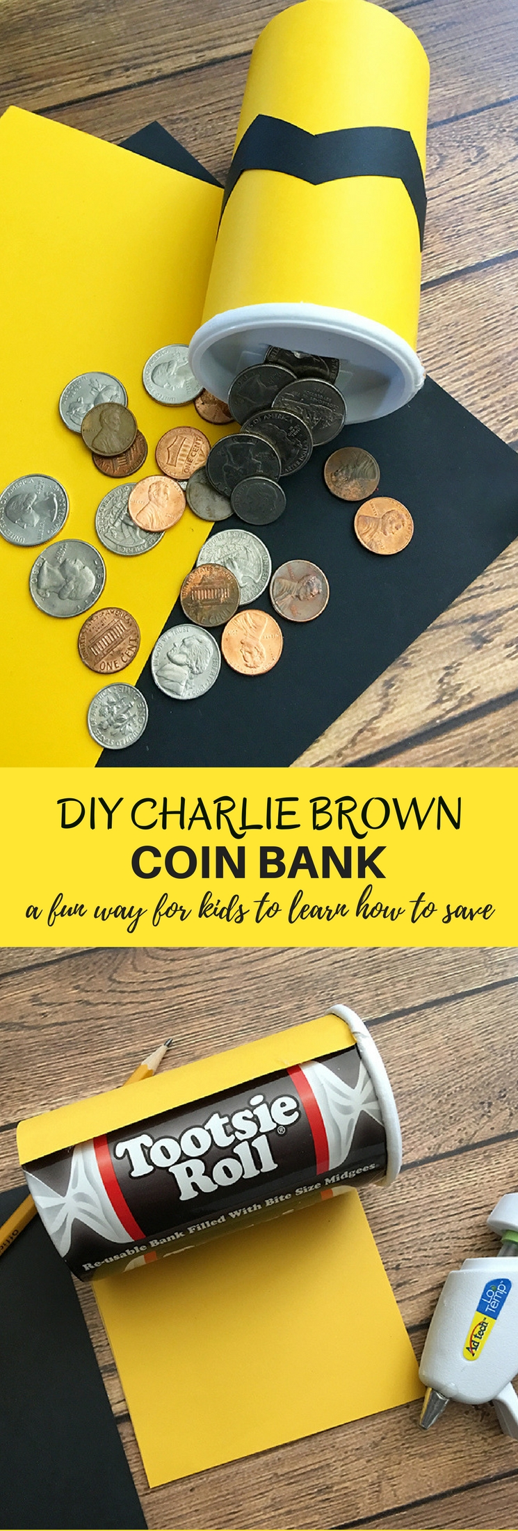 DIY Charlie Brown Coin Bank is perfect for teaching your child how to save. Super easy and fun to make using simple craft supplies.