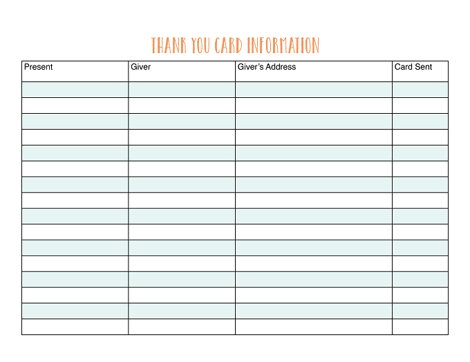 Keep track of your gifts with this printable thank you card information organizer.