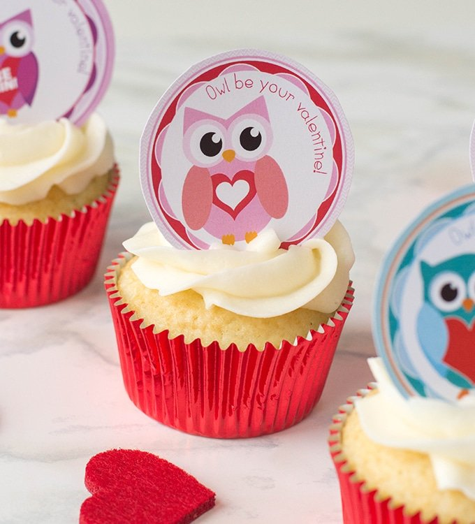 image regarding Owl Miss You Printable referred to as Printable Valentines Working day Owl Cupcake Toppers Onion Rings