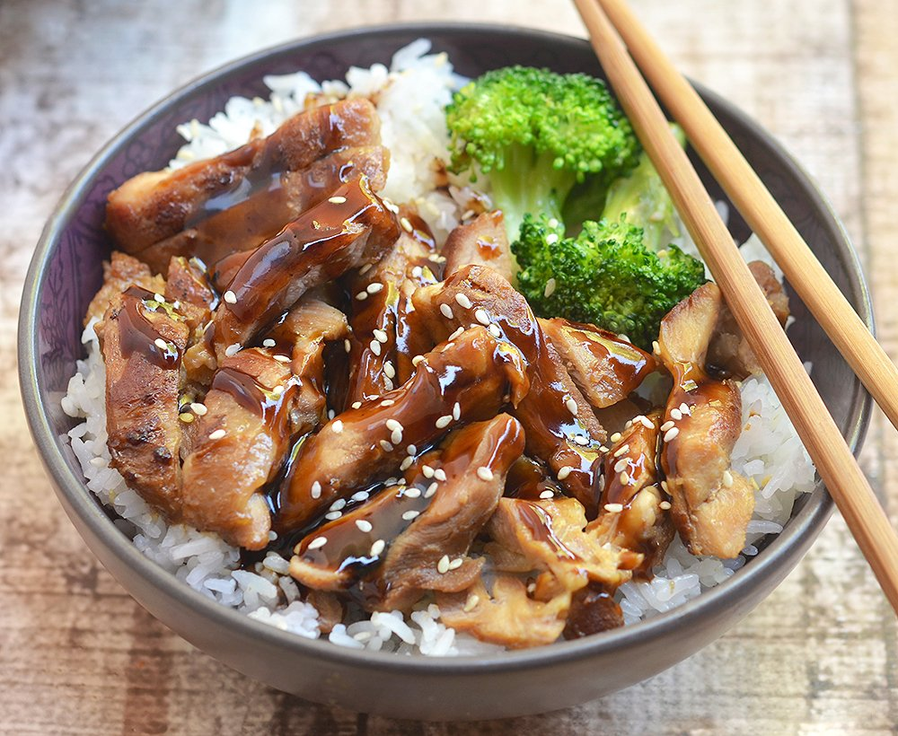 This chicken teriyaki bowl is a perfect dinner with rice and broccoli.