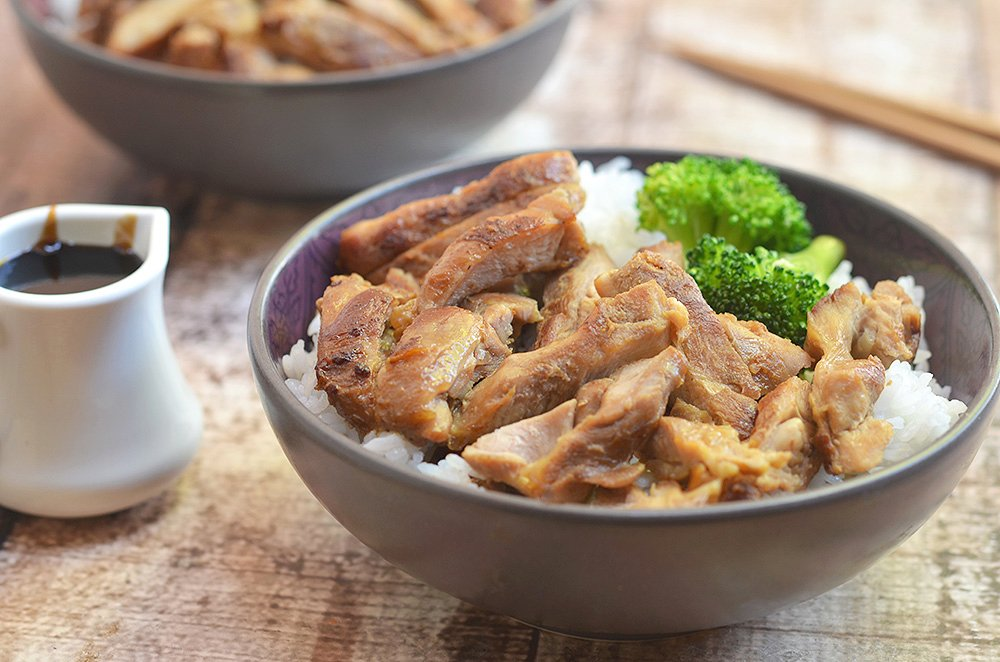 Perfectly moist chicken is complimented by the most delicious teriyaki sauce.