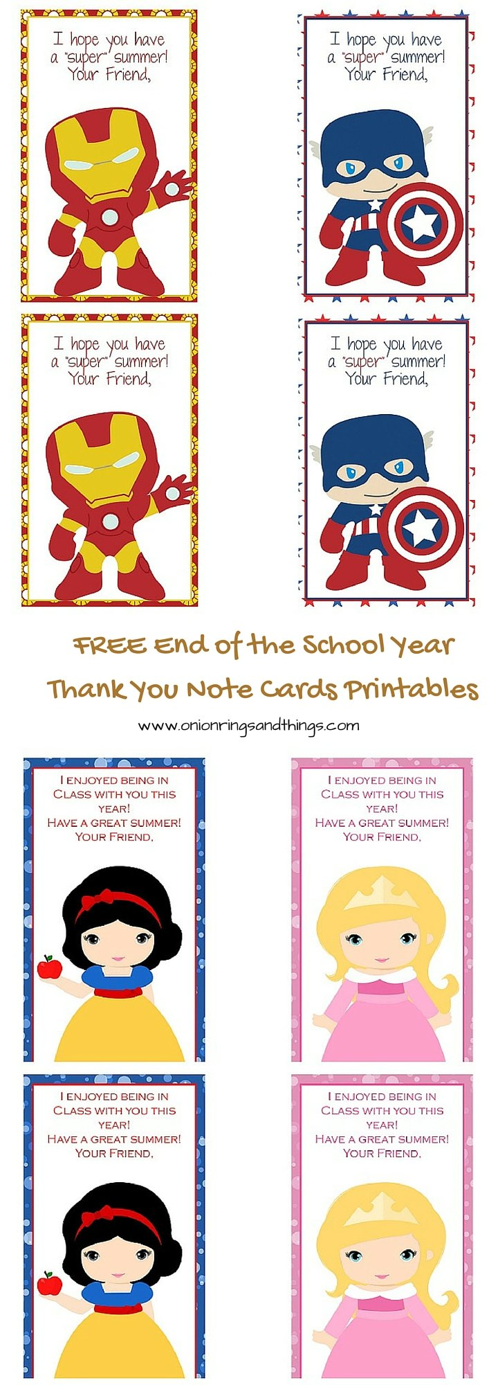 FREE last school day thank you note card printables