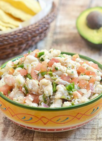 Shrimp Ceviche is refreshingly tangy, slightly spicy, and amazing with crisp tortilla chips. It's the perfect summer treat!
