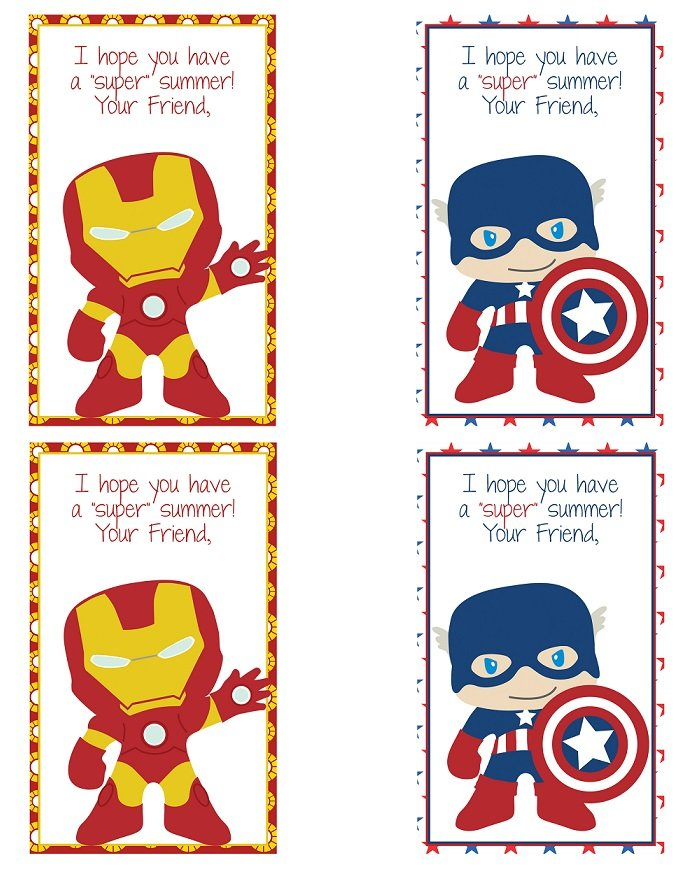 FREE end of school year thank you card printables with super hero designs.