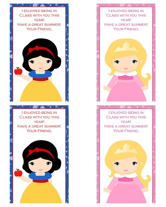FREE last school day thank you notecard printables with princess designs.