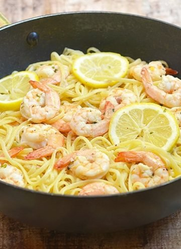 Lemon Butter Garlic Shrimp Pasta in a pan