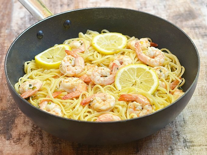 Lemon Butter Garlic Shrimp Pasta in a pan