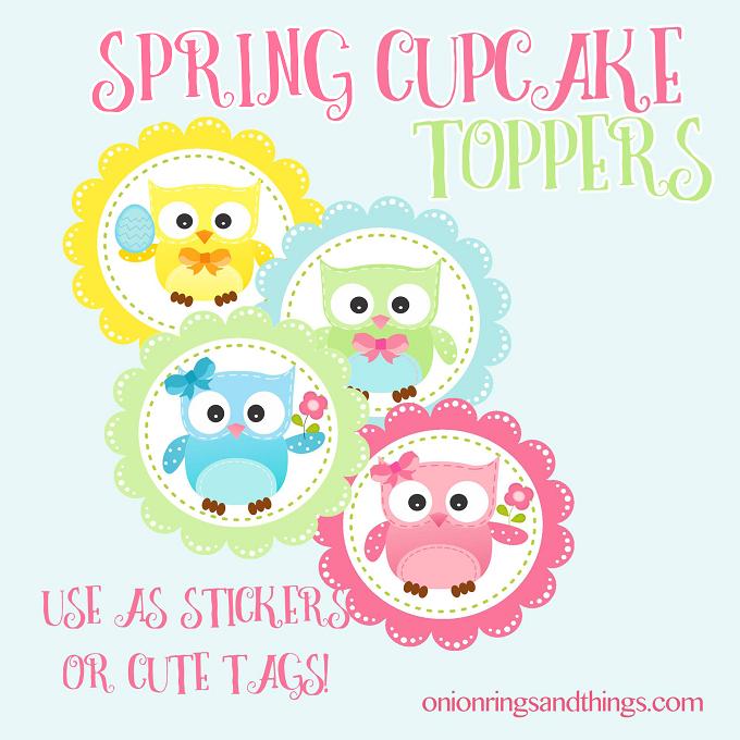 FREE Spring Owl Cupcake Topper Printable