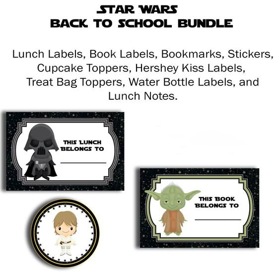 Star Wars Back to School FREE Printables are bookmarks, book labels, lunch bag labels, lunch bag notes, cupcake toppers, Hershey kisses labels, stickers, water bottle labels, treat bag toppers you need to send your kid back to school in style!