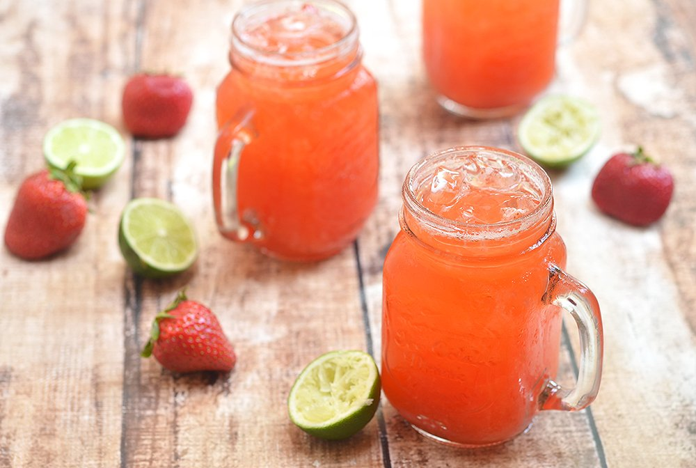 Strawberry Limeade is a refreshing summer drink made with freshly-squeezed lime juice, pureed strawberries, and simple syrup. It's fresh, tangy, fruity and the perfect way to beat the heat.