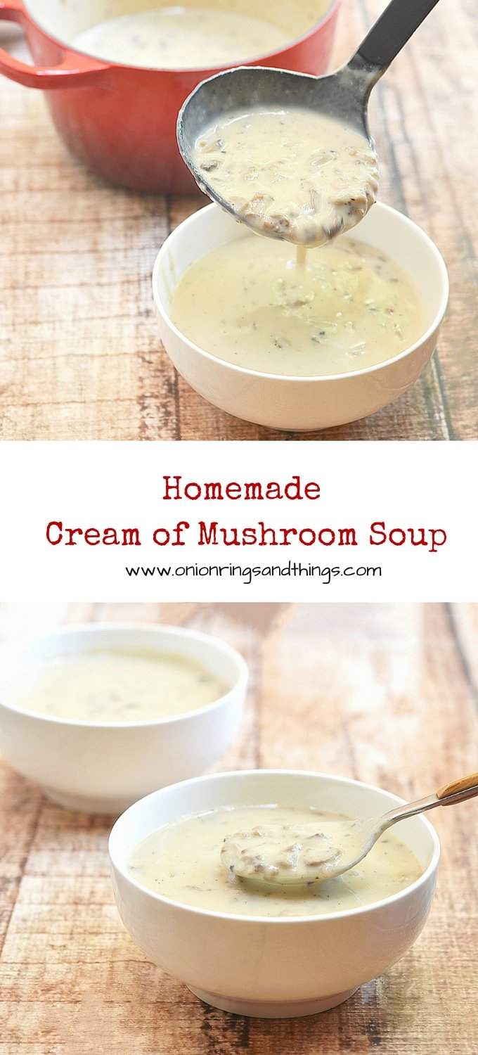 Rich, creamy and with generous bits of mushrooms, this Homemade Cream of Mushroom Soup is so much better and fresh tasting  than store bought.