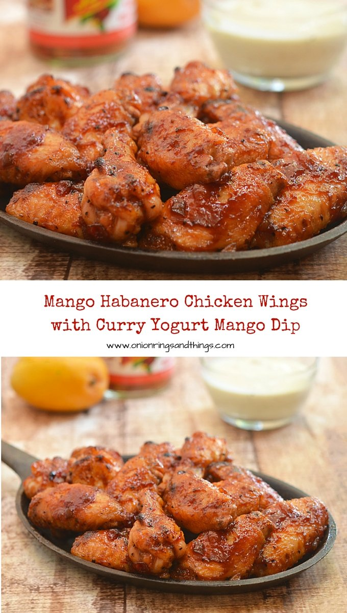 Sweet, sticky and slightly spicy, these Mango Habanero Chicken Wings paired with Curry Yogurt Mango Dip are lip-smacking, finger-licking addictive! #ad