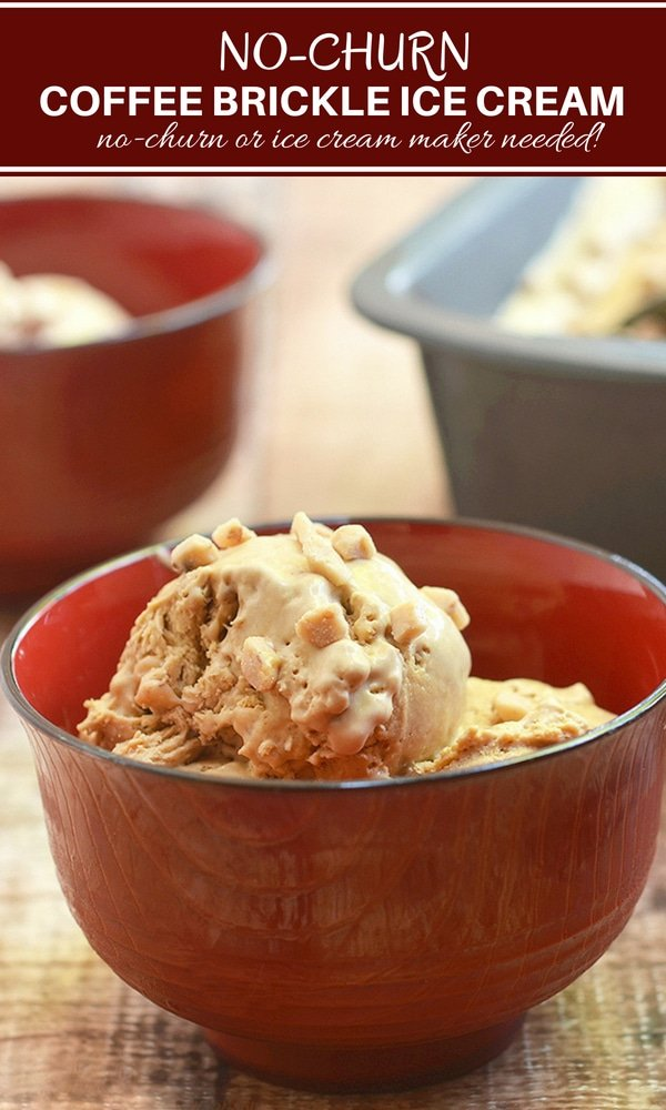 Coffee Ice cream made of whipped cream, condensed milk and toffee bits