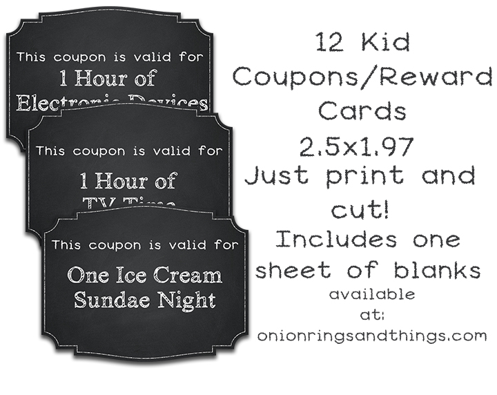 FREE Kids Reward Coupons Printables