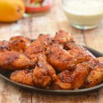Mango Habanero Chicken Wings with Curry Yogurt Dip