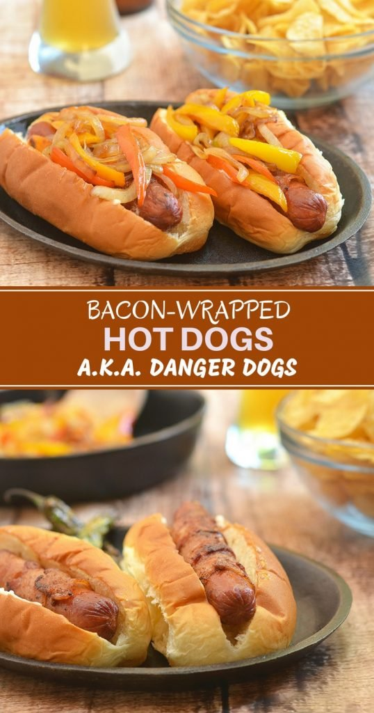 Bacon-wrapped Hotdogs on a bun with sauteed sweet peppers and onions