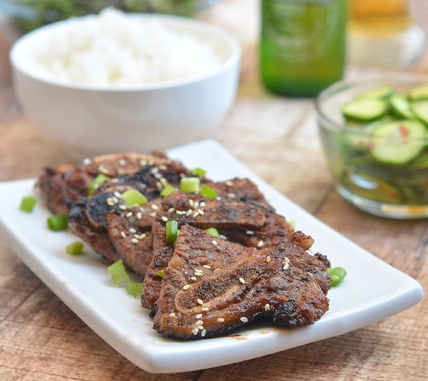 Secret ingredient for these Korean BBQ Kalbi? Pears!