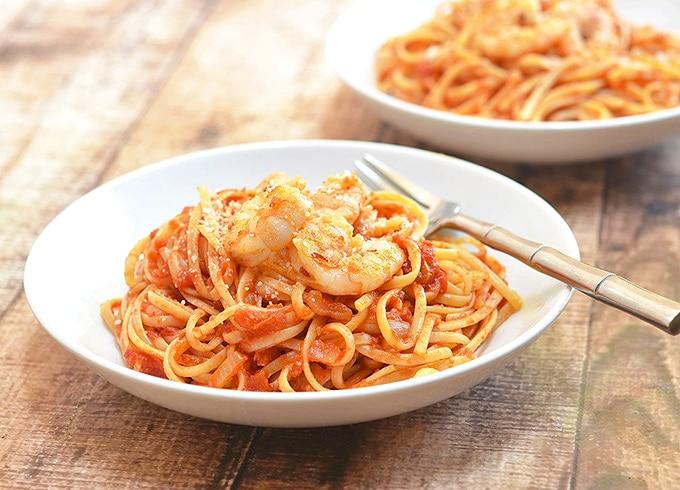 Pasta fra Diavolo with shrimp and linquine