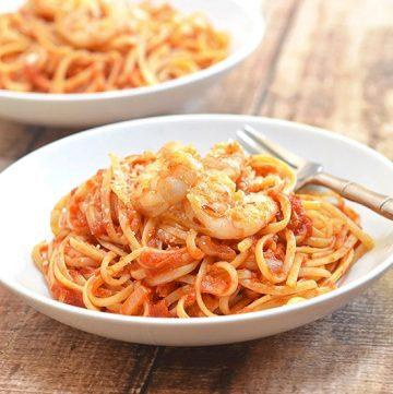 shrimp and linquine fra diavolo on a serving plate
