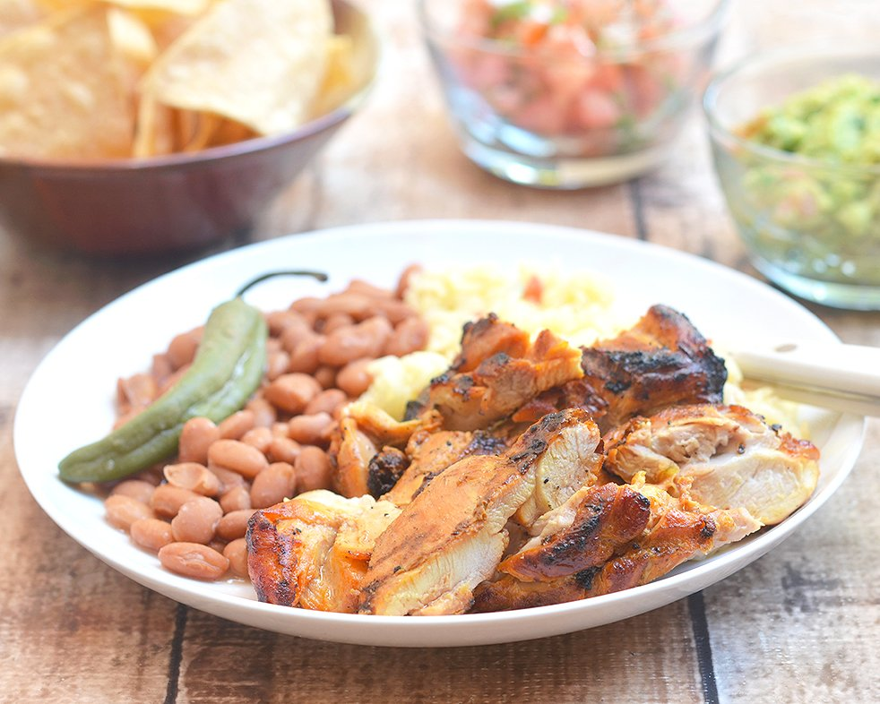 Pollo Asado is marinated in citrus juices and a special blend of spices and then grilled to perfection. It's delicious fresh off the grill with your favorite sides and leftovers are amazing in tacos, burritos or quesadillas!