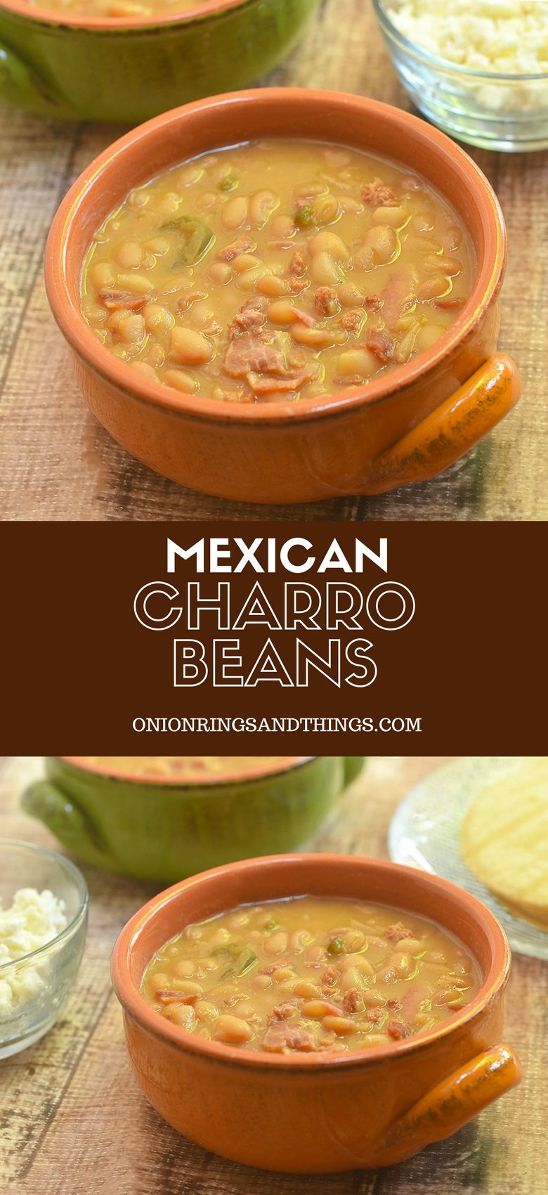 Charro Bean cooked with bacon, chorizo, tomatoes and chili peppers for a delicious accompaniment to your favorite Mexican entrees. They're hearty enough to be enjoyed on their own with warm tortillas and the recipe can be easily doubled to feed a crowd!