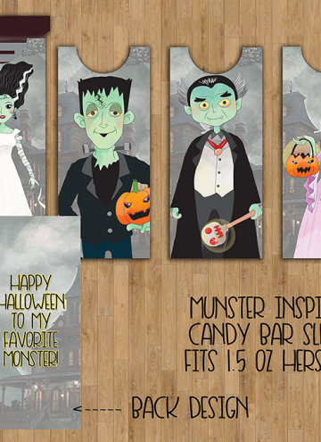 FREE Munsters Candy Bar Sleeve Printables inspired by the TV show classic! With scary cute designs, they are hair-raising, spine-chilling, blood-curdling addition to your Halloween celebration.
