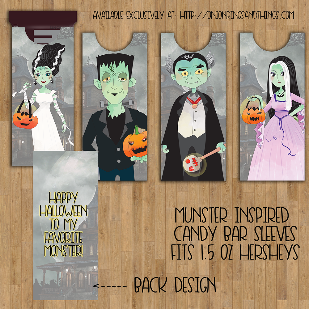 Bring ghoulish fun to Halloween with these FREE Munsters Candy Bar Sleeves Printables! With scary cute designs inspired by the TV show classic, they will be a hair-raising, spine-chilling, blood-curdling addition to your Halloween celebration.