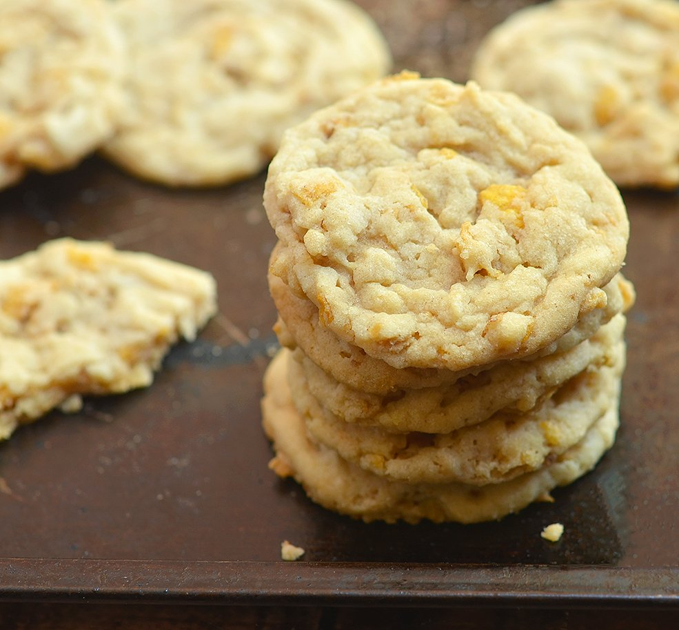 The unique combination of peanut butter and corn flakes make these cookies a huge hit.