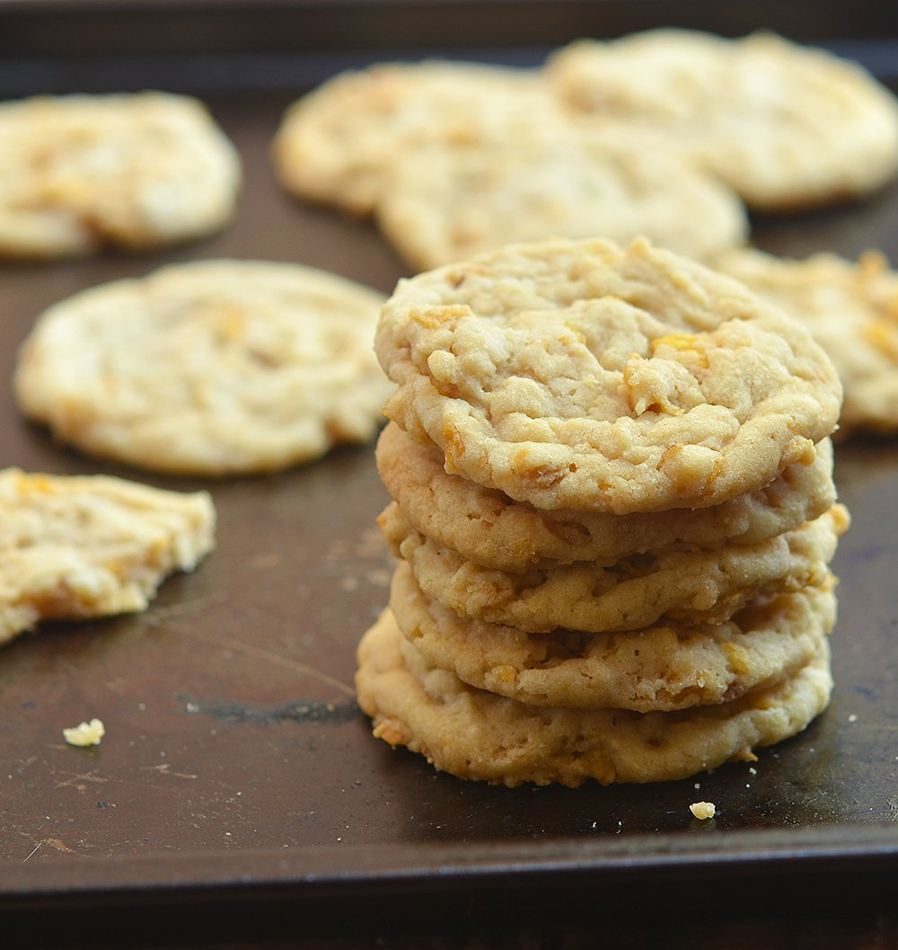 Peanut butter corn flake cookies are a chewy, salty-sweet irresistible treat.