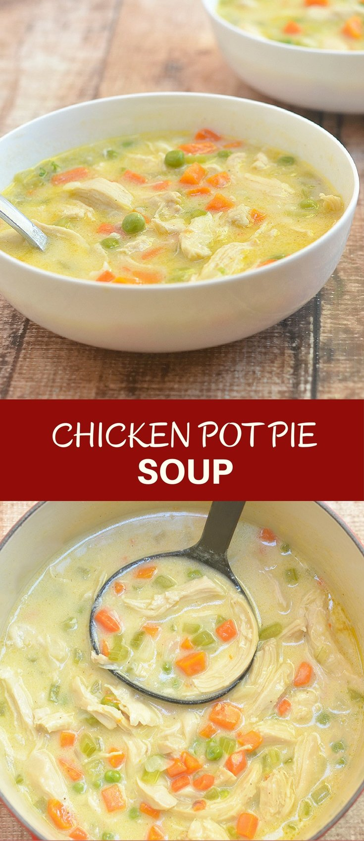 Chicken Pot Pie Soup has all the flavor and comfort of classic chicken pot pie but without the extra calories and extra work of a pie crust. Hearty and delicious, it's perfect comfort food for chilly winters.